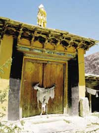 Where Naropa flew up into the sky, in the six bone ornaments offered by Dakini (Sani Monastery, Zanskar)